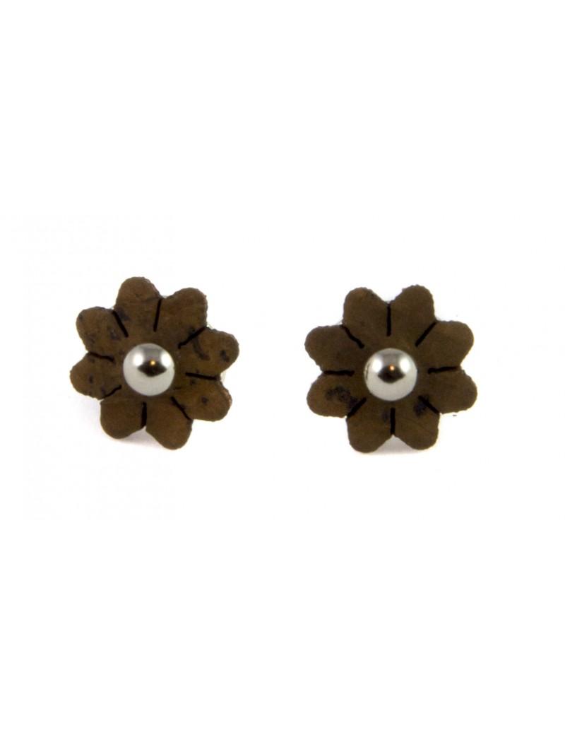 Boucles d'oreilles pâquerette Brun