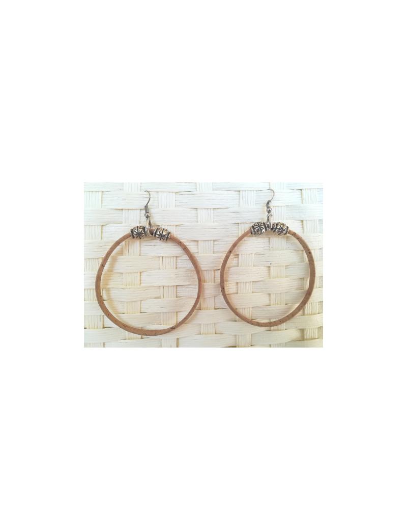 Boucles d'oreilles grandes créoles naturel
