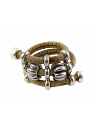 Bague perles métal naturel