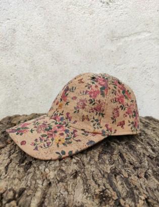 Casquette petites fleurs rose