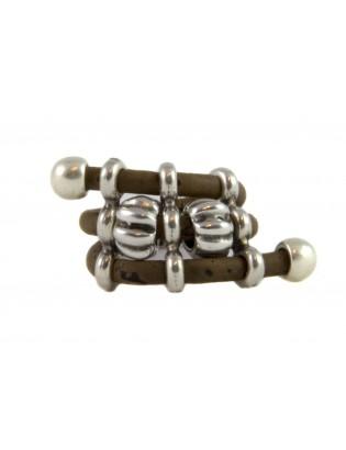 Bague perles métal brun