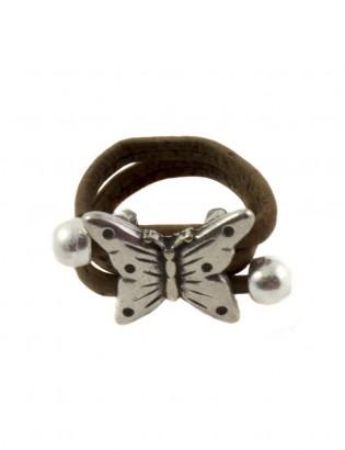 Bague papillon brun