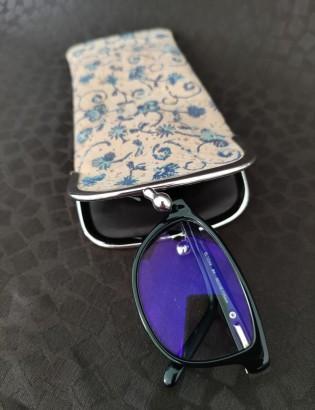 Etui à lunettes bleuets